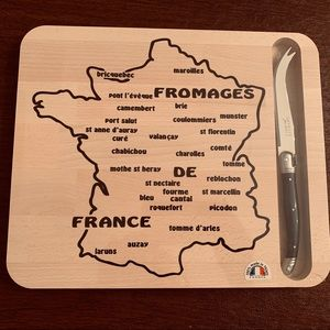 Jean Dubost French Map cheese Board & cheese Knife